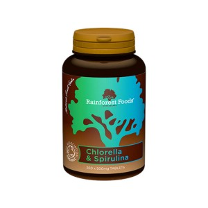 Chlorella 250 mg & spirulina 250 mg Bio 300 tabletek Rainforest Foods