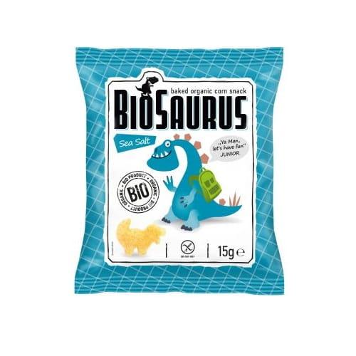 Chrupki kukurydziane Dinozaury z solą morską bezglutenowe BIO 15 g BioSaurus