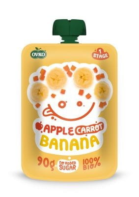 Przecier jabłko marchew banan po 6 miesiącu życia BIO 90 g Ovko