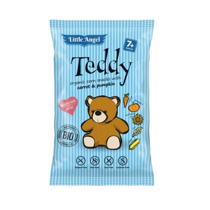 Chrupki kukurydziane mini TEDDY marchew i dynia od 7 miesiąca bezglutenowe BIO 30 g Little Angel