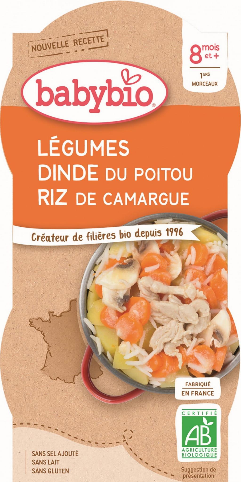 Danie mix warzyw z ryżem i indykiem od 8 miesiąca bezglutenowy BIO 2x200 g BabyBio