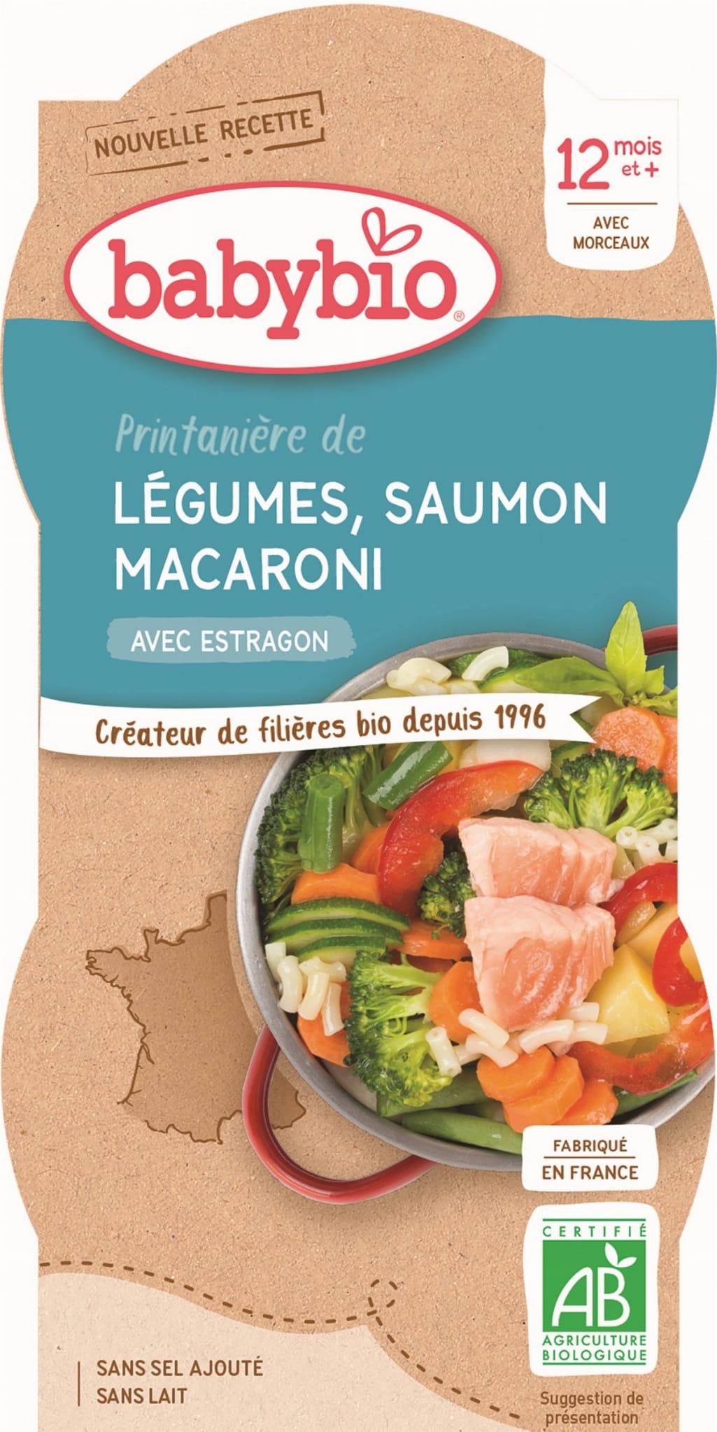 Danie makaron z łososiem i warzywami od 12 miesiąca BIO 2x200 g BabyBio