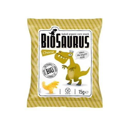 Chrupki kukurydziane Dinozaury o smaku serowym bezglutenowe BIO 15 g BioSaurus