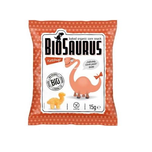 Chrupki kukurydziane Dinozaury o smaku ketchupowym bezglutenowe BIO 15 g BioSaurus